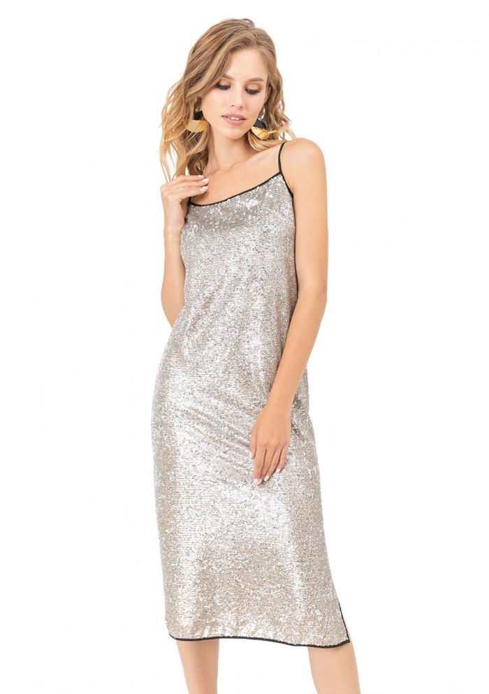 Платье женское трикотажное, расшитое пайетками М 7714