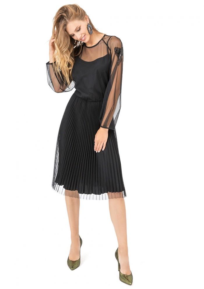 Платье женское с гофрированной юбкой М 7687