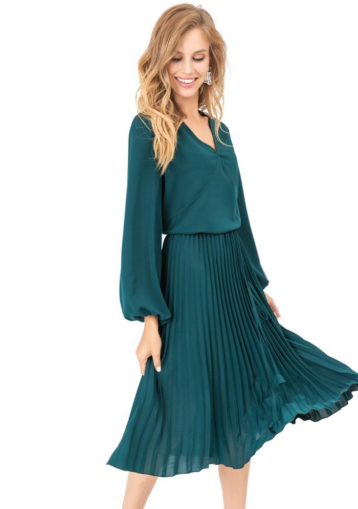 Платье женское с расклешенной гофрированной юбкой М 7690-1